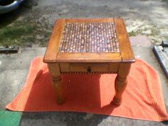Penny covered table top.....wish I had my parents old end table now.  This would have been perfect!