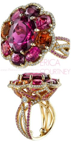 ERICA COURTNEY | Flower Mosaic Ring | 18K Yellow Gold ring featuring a 10.91 ct. Tourmaline, 3.14 ctw. of Mandarin Garnet, 2.56 ctw. of Ruby, 2.48 ctw. of Pink Spinel, 1.64 ctw. of Rubelite, 1.45 ctw. of Pink Sapphire, and 1.12 ctw. of Diamonds | La Beℓℓe ℳystère