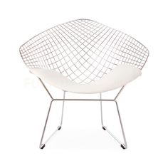 Harry Bertoia Style Wire Diamond Chair - White Pad