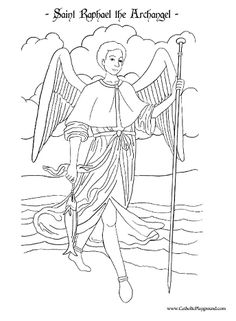 saint raphael the archangel coloring page september 29th