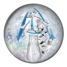 """""""Hatsune Miku's Snow Globe"""" by grell-loves-bassy ❤ liked on Polyvore featuring art"""