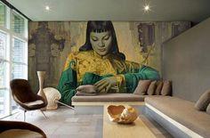 Настенные фрески в современном интерьере Фрески, дошедшие до нашего времени, выполнялись красками вручную по сырой штукатурке. Новейшие технологии и оборудование, позволяют производить их нанесение на различные материалы. Поэтому монументальная живопись стала более доступной и легкой в исполнении. В продаже имеются готовые изображения в
