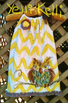 Chevron Owl Pillowcase Dress Hand Painted Made To by YelliKelli, $35.00