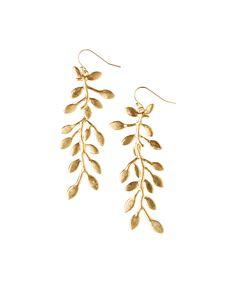 Gold Vine Hand-Cast Drop Earrings