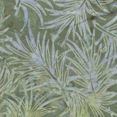 Fresh Water Java Batiks Green Blue Palm Branch Batik