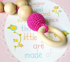 Nursing/Teething Necklace with wooden ringBaby by Simplyacircle