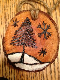 Rustic snowy scene wood burned Christmas ornament - natural wood