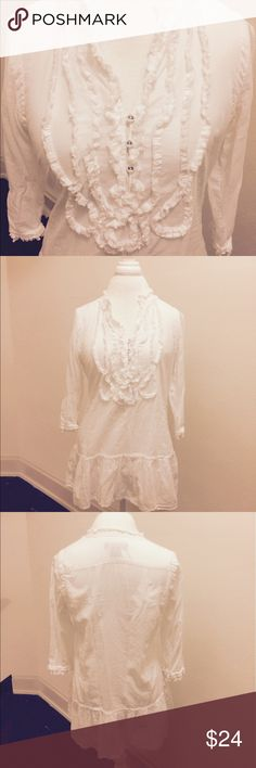White Calvin Klein Blouse Beautiful crisp white top. No stains. Great condition Calvin Klein Tops Blouses