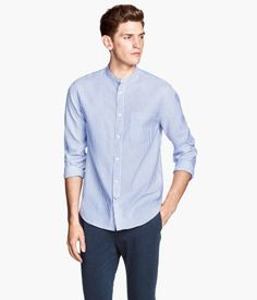 Collarless spandex cotton nylon striped button up shirt for Collarless white shirt slim fit