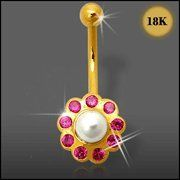 Jeweled Flower with Pearl 18K Gold Belly Ring Piercing Jewelry $242.31 Belly Rings, Belly Button Rings, Cool Piercings, 18k Gold, Pearl, Jewels, Flower, Shopping, Bead