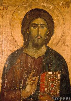 A lacquered icon of Christ the Pantocrator on wood. Jesus holds the Gospel in a precious cover in his left hand and blesses the faithful with his right hand Byzantine Art, Byzantine Icons, Religious Icons, Religious Art, Christus Pantokrator, Orthodox Icons, Medieval Art, Sacred Art, Christian Art