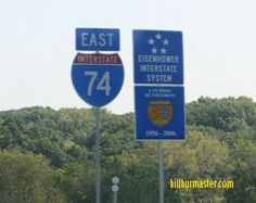 A guide marker on EB I-74, east of I-474/IL St Rt 6 in Illinois