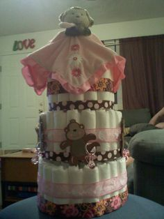 Pink monkey diaper cake by Stacy!