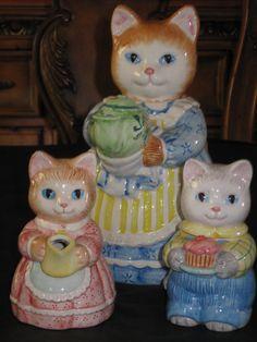 1991 Avon Mother Cat Kittens Teapot Creamer Sugar Set | eBay
