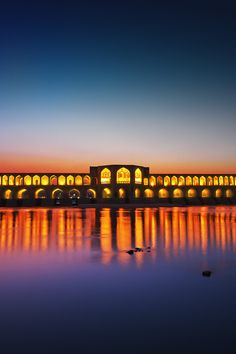 Iran - Isfahan - Khaju Bridge at night #travel #lights #middleeast