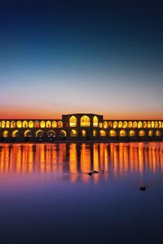Wonderful Bridge Khaju, Esfahan/Iran... by Mohammad Nouri... Source: 500px.com |bridge Khaju | Bridge Iran | travel |sunset | lights |fairy architecture | Esfahan |sea |ocean view waterscape..