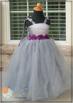 Silver Grey Flower Girl Dress With Eggplant by SoleilCreations, $109.99