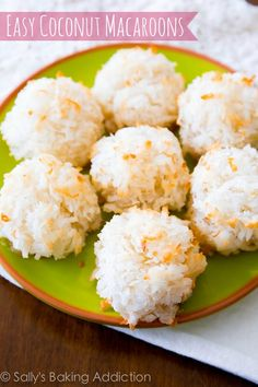 Favorite Coconut Macaroons - chewy, moist, 4 ingredients! Get the easy recipe at sallysbakingaddiction.com @Sally [Sally's Baking Addiction]