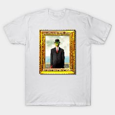"8-bit pixel art version of René Magritte's famous surrealist painting, ""The Son of Man"" – let fine art bring some class, culture, and sophistication to your digital world (or vice versa?)"