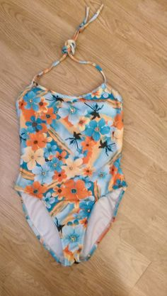 BARE NOTHINGS Swimsuit Size LARGE HAWAIIAN FLORAL Bathing Suit  #BareNothings #OnePiece