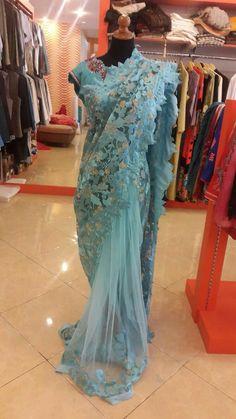 #saree#tiffany-blue#cutwork#lace#net#desi-style#