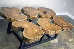 Funky Coffee Table. Teak slab/crosscut top. Live Edge Wood. Custom. | Combine9 - Furniture on ArtFire