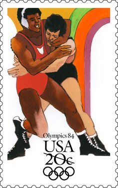 The Wrestling stamp was part of a set of four stamps commemorating the 1984 Summer Olympics in Los Angeles, California.