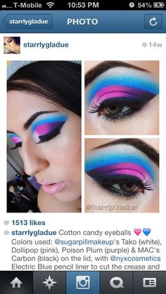 Purple and blue bright makeup