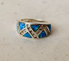 Native American Inlaid Turquoise Sterling Ring w by GemstoneCowboy, $65.00