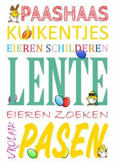 Vrolijke Pasen woordenkaart - happy easter word card with small illustrations. Kaartje2go - Creagaat Pasen Pinkster