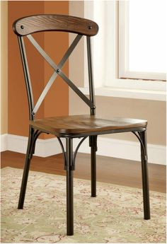 Check out stylish Furniture of America Rizal Industrial Style Round Dining Chair, Set of 2 from Furniture, Metal Side Chair, Dining Room Chairs, Farmhouse Dining Chairs, Solid Wood Dining Chairs, Industrial Dining, Side Chairs Dining, Furniture Of America, Dining Room Furniture