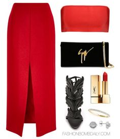 What to Wear to a Rooftop Birthday Dinner Balmain Bandeau Top Carven Slit Front Skirt Giuseppe Zanotti Metal Wing Sandal Giuseppe Zanotti Design Signature Clutch