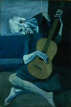 The Old Guitarist by Pablo Pisasso  It is painted after the suicide death of Picasso's close friend, Casagemas in 1903. This work was created in Madrid, and the distorted style is reminiscent of the works of El Greco.