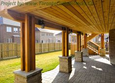 Lower level of the deck also holds a spacious area. #Deck design #custom deck #interlocking #patio #Toronto