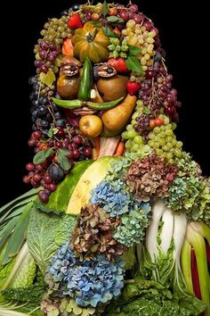 The things we do with food... Arcimboldo Food Artwork display at New York's Rebecca Hossack Gallery post via Huffingtonpost.com.