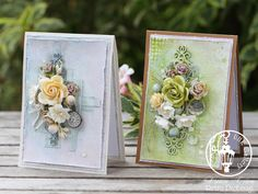 mixed media card flowers