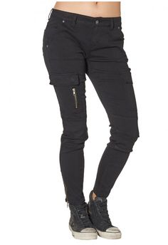 Our take on falls military trend - black cargo denim for women. #SilverJeans