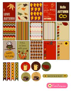 Free Printable Fall themed Happy Planner Stickers