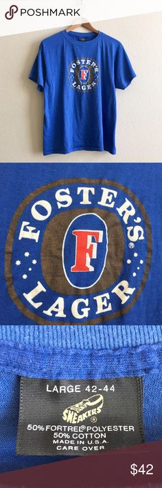 """Fosters Beer Vintage Tee Royal blue paper thin """"Foster's Lager"""" tee. Coveted Sneakers label! 🍺  BRAND: Sneakers MATERIAL: 50/50 YEAR/ERA: 80s LABEL SIZE: L BEST FIT: S/M  MEASUREMENTS: Chest 20.5 inches Length 25 inches   🚫 I do not model or trade, sorry! 💟 Check out my closet for more vintage tees! Vintage Tops Tees - Short Sleeve"""