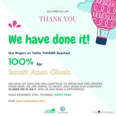 Thank You, we have reached 100% on Taha Funder -eAhlulbayt