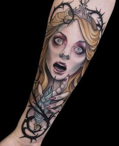 Breath-taking Emotional Sleeping Beauty Tattoo