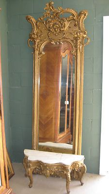 Large Antique French Gilt Frame Entry Hall Mirror and Marble Top Base | eBay