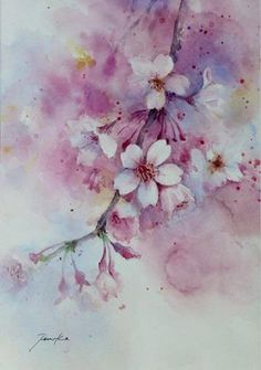 One persons attempt to become a good artist painting in watercolour, experiences along the way and discussion of all things connected with it. Artist Painting, Watercolour Painting, Watercolor Flowers, Art Floral, Cherry Blossom Painting, Botanical Art, Painting Inspiration, Flower Art, Drawings