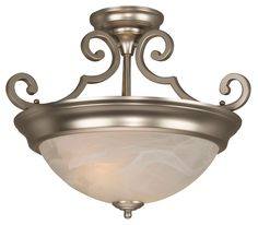 Two Light Semi-Flush Ceiling Fixture