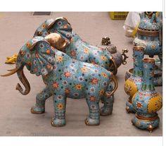 """decoration white Copper silver factory A Pair 32"""" Royal Palace China Cloisonne Bronze Auspicious Omen Elephant statue Pair"""