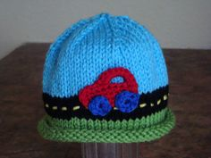 Road Trip Red Car Beanie - Hand Knit Baby Boy Hat with Car Driving on Road - Newborn, Infant and Toddler Sizes