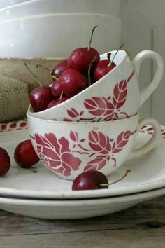Cherries and vintage dishware Vintage Dishware, Vintage Cups, Cherry Baby, Cherry Tree, Cherry Hill Park, Cherry Festival, Red And White Kitchen, Farm House Colors, Strawberries