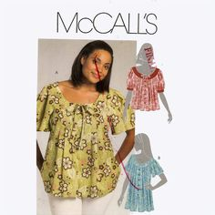 Womens boho peasant blouse top  sewing pattern McCalls by HeyChica, $8.99