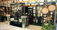 Booth Idea10x20 space layout. Check out the old screen doors (painted black) to…