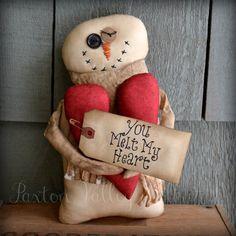 Snowman Valentine Shelf Sitter Primitive by PaxtonValleyFolkArt